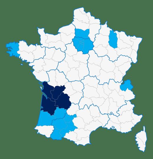 Carte de France des revendeurs MVUE