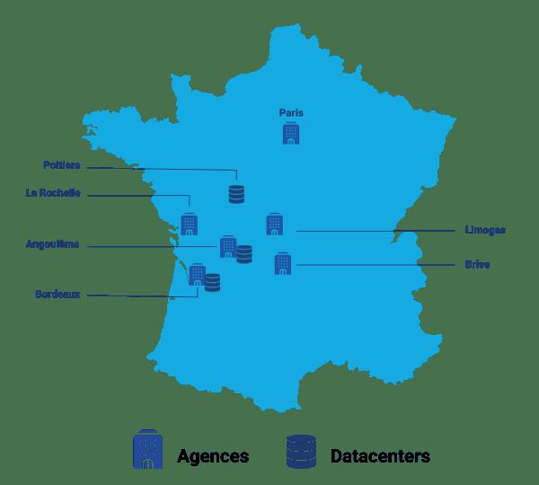 Nos Sites en France : Toulouse, Bordeaux, Angoulême, La Rochelle, Poitiers, Paris, Limoges, Brive